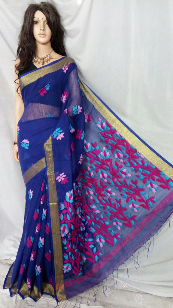 Blue Shreya Khadi Jamdani Sarees (Add to Cart Get 15% Extra Discount)