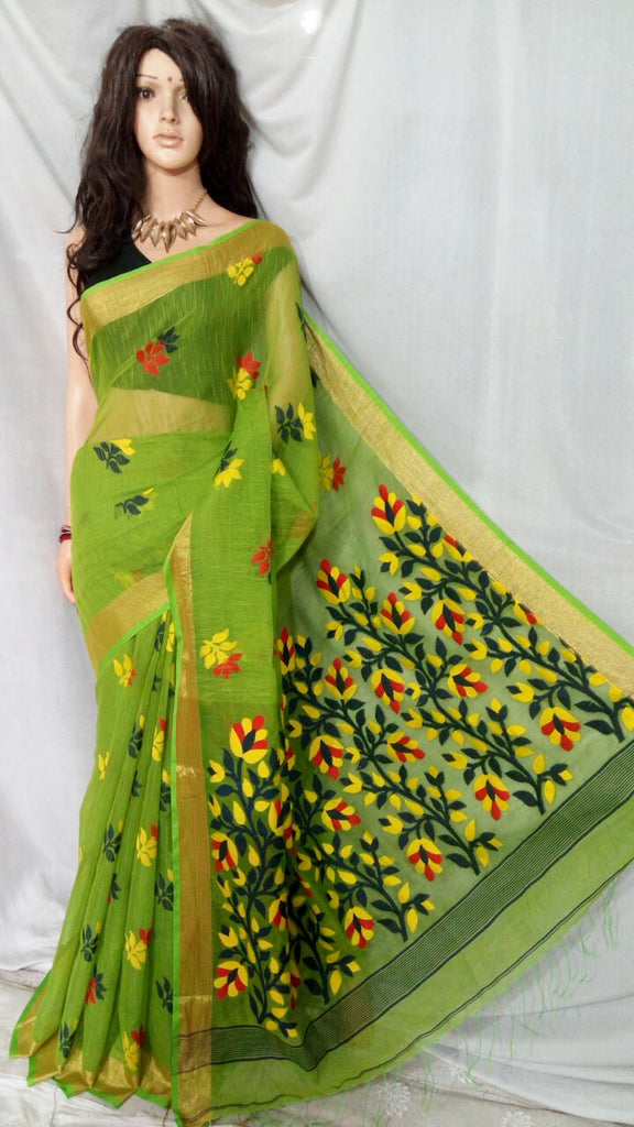 Green Shreya Khadi Jamdani Sarees (Add to Cart Get 20% Extra Discount)
