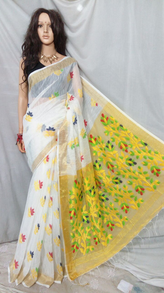 White Shreya Khadi Jamdani Sarees (Add to Cart Get 15% Extra Discount)