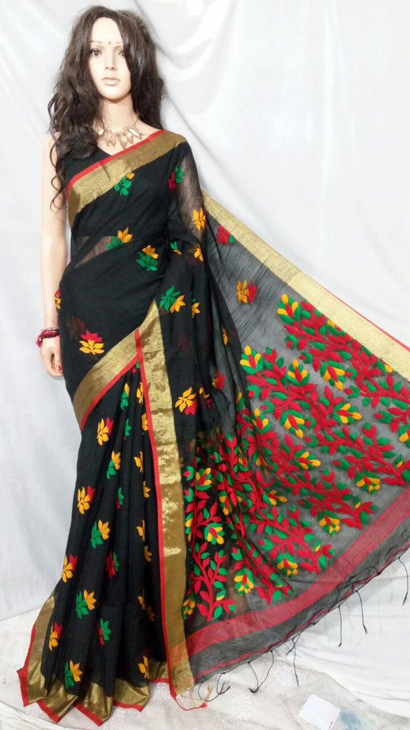 Black Shreya Khadi Jamdani Sarees (Add to Cart Get 15% Extra Discount)