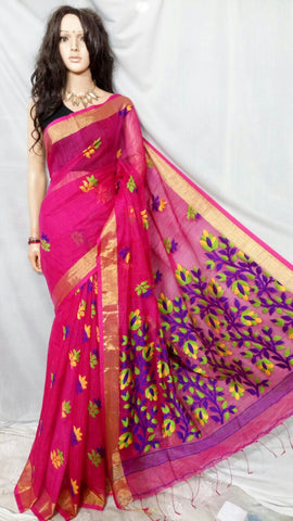 Violet Shreya Khadi Jamdani Sarees (Add to Cart Get 20% Extra Discount)
