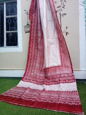 White Red Glamour Pure Murshidabad Silk Sarees (Add to Cart Get 15% Extra Discount)