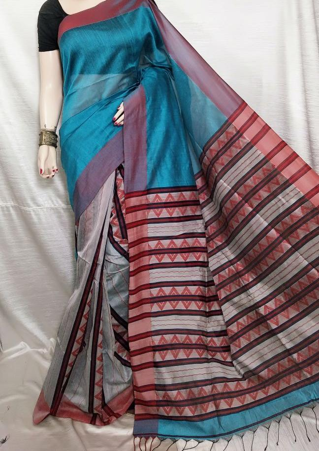 Blue K.K Handloom Cotton Silk Sarees