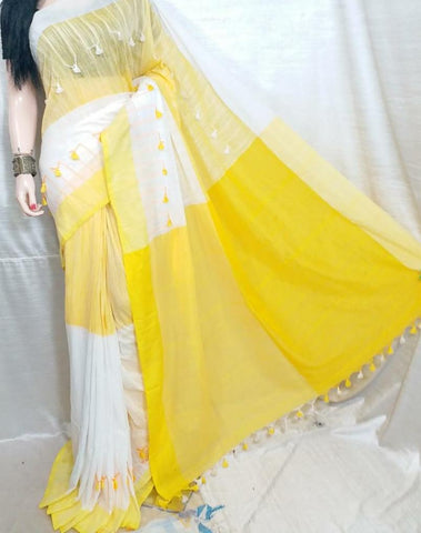 Yellow White KK Khadi Sarees