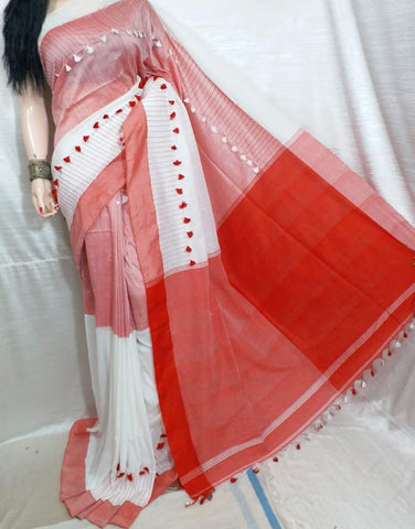 Red White KK Khadi Sarees (Add to Cart Get 15% Extra Discount)