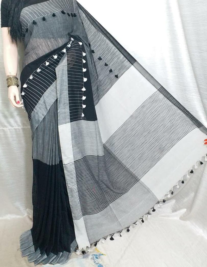 Black & Grey  KK Khadi Sarees