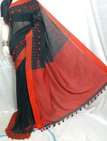 Black & Orange  KK Khadi Sarees