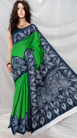 Green Blue S.G Cotton Handloom Sarees