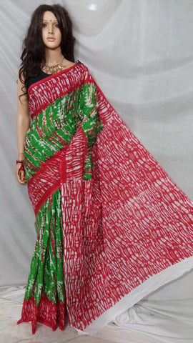 Green Red S.G Cotton Handloom Sarees
