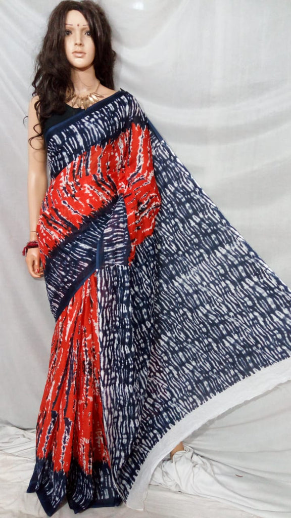 Orange Blue S.G Cotton Handloom Sarees