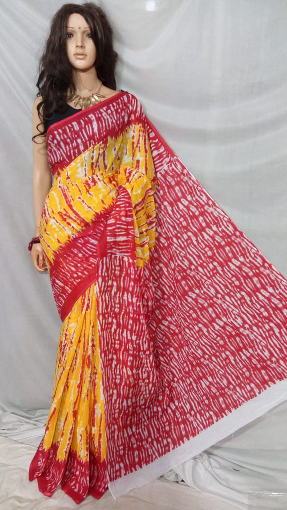 Yellow Pink S.G Cotton Handloom Sarees