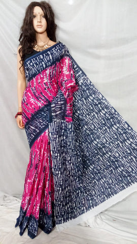 Pink Blue S.G Cotton Handloom Sarees