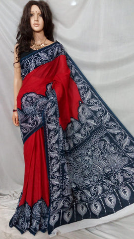Red Blue S.G Cotton Handloom Sarees