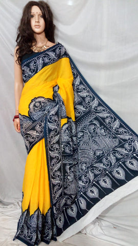Yellow Blue S.G Cotton Handloom Sarees