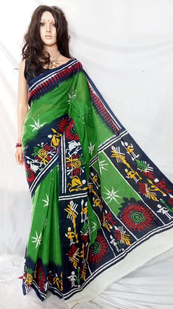 Green S.G Cotton Handloom Sarees