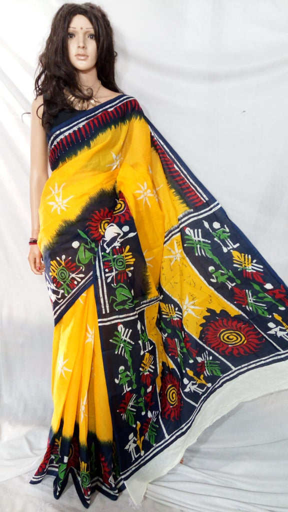 Yellow S.G Cotton Handloom Sarees
