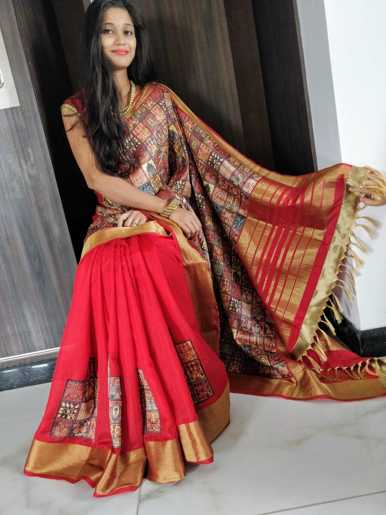 Red Golden Raw Silk Sarees