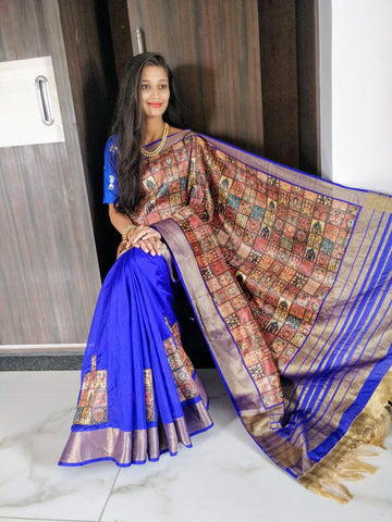 Blue Golden Raw Silk Sarees