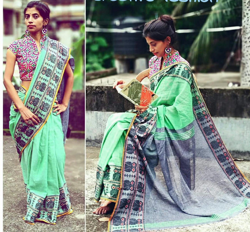 Green Grey S.G Cotton Handloom Sarees