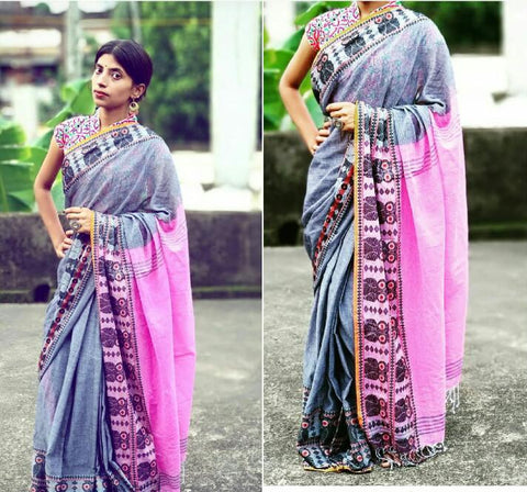Grey Pink S.G Cotton Handloom Sarees