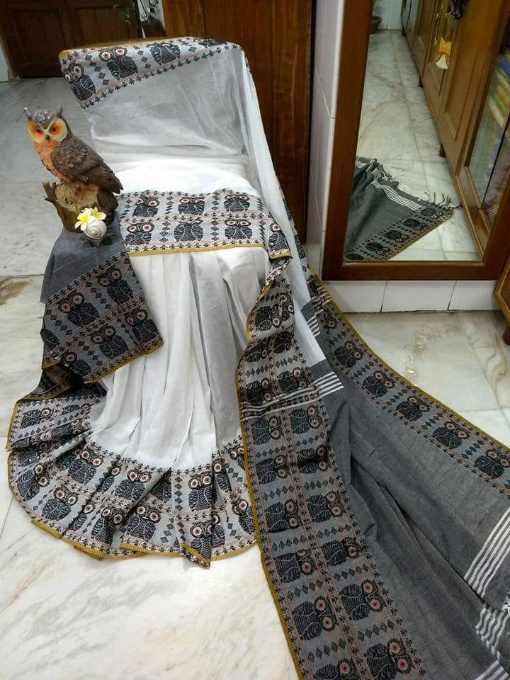 Grey Beige S.G Cotton Handloom Sarees