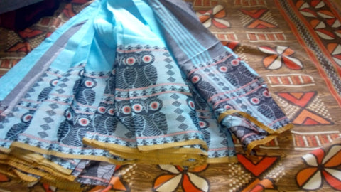 Blue Grey S.G Cotton Handloom Sarees