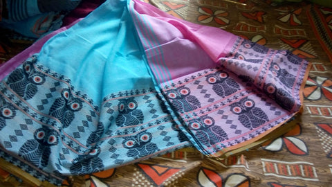 Blue Pink S.G Cotton Handloom Sarees