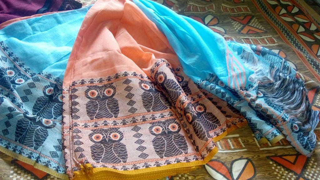 Blue Orange S.G Cotton Handloom Sarees