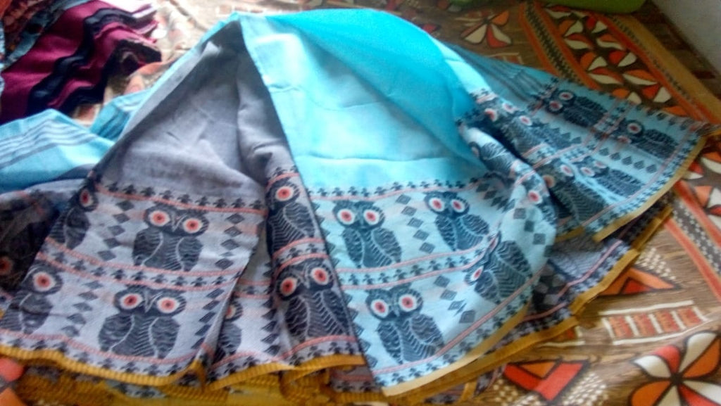 Blue S.G Cotton Handloom Sarees