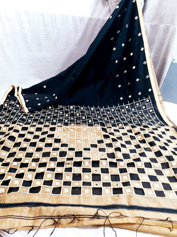 Black Beige K.K Handloom Cotton Silk Sarees