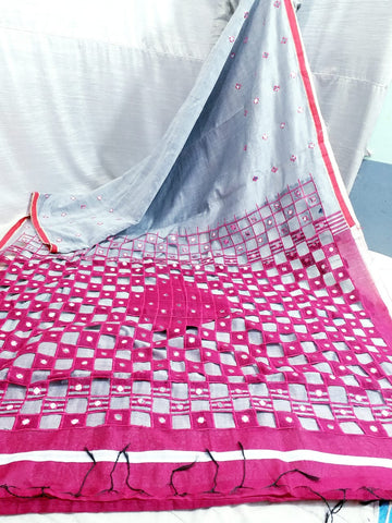 Pink Grey K.K Handloom Cotton Silk Sarees