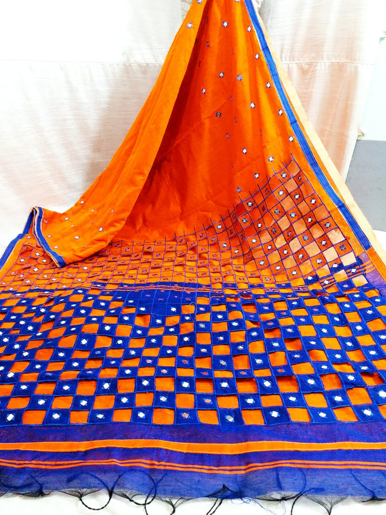 Orange Blue K.K Handloom Cotton Silk Sarees