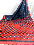 Black Orange K.K Handloom Cotton Silk Sarees