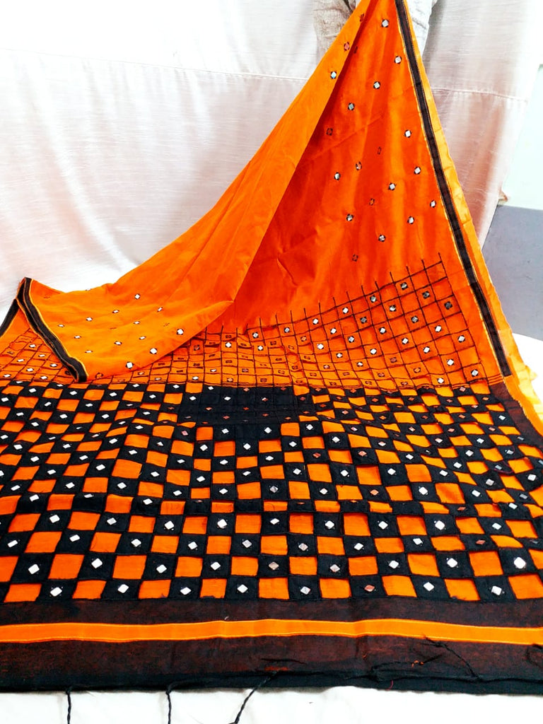 Orange Black K.K Handloom Cotton Silk Sarees