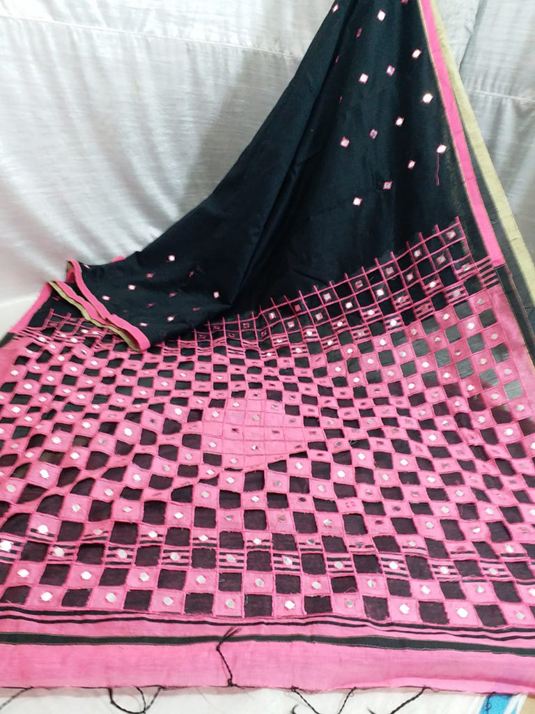 Pink Black K.K Handloom Cotton Silk Sarees