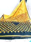 Yellow Black K.K Handloom Cotton Silk Sarees