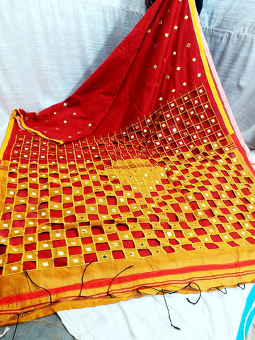 Red Yellow K.K Handloom Cotton Silk Sarees