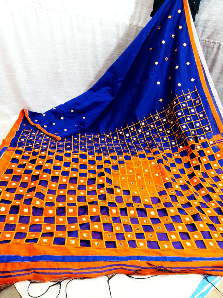 Blue Orange K.K Handloom Cotton Silk Sarees