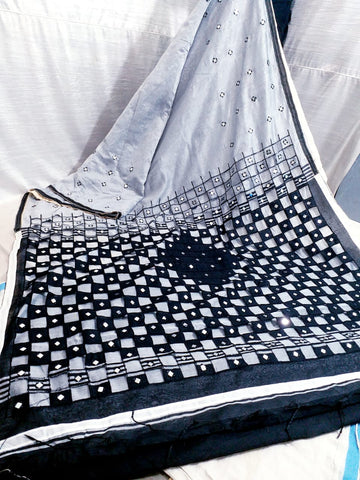 Grey Black K.K Handloom Cotton Silk Sarees