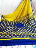 Yellow Blue K.K Handloom Cotton Silk Sarees