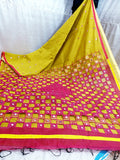 Yellow Purple K.K Handloom Cotton Silk Sarees