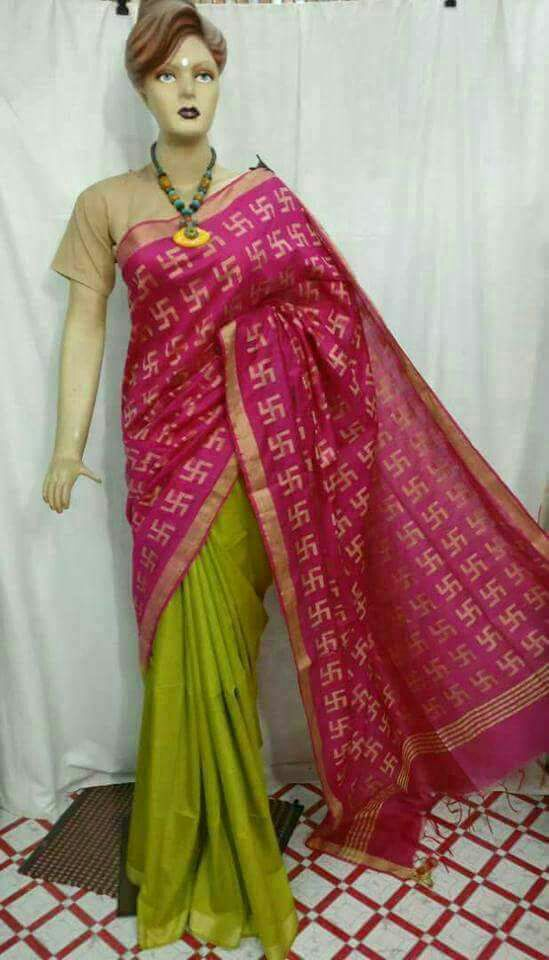 Purple Green Bhagalpuri Silk Sarees