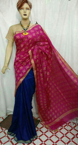 Purple Blue Bhagalpuri Silk Sarees
