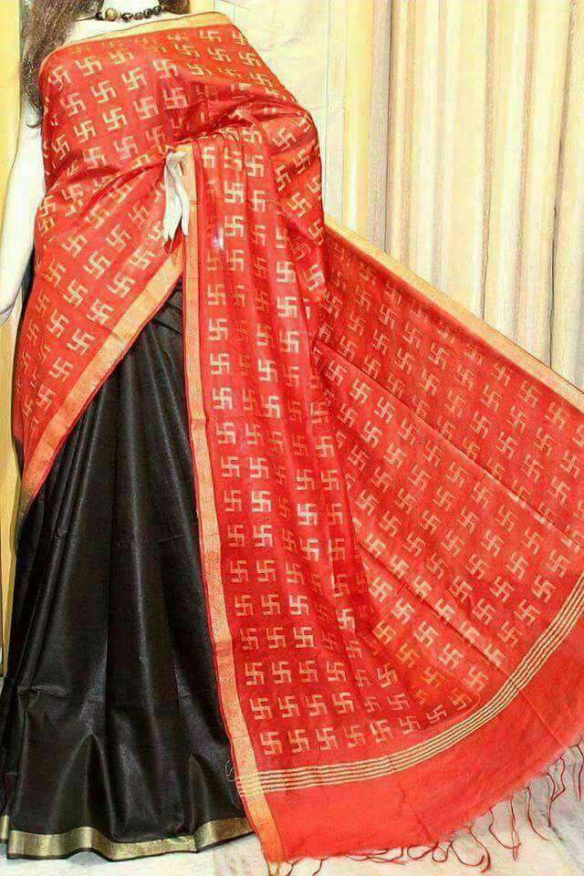 Red Black Bhagalpuri Silk Sarees