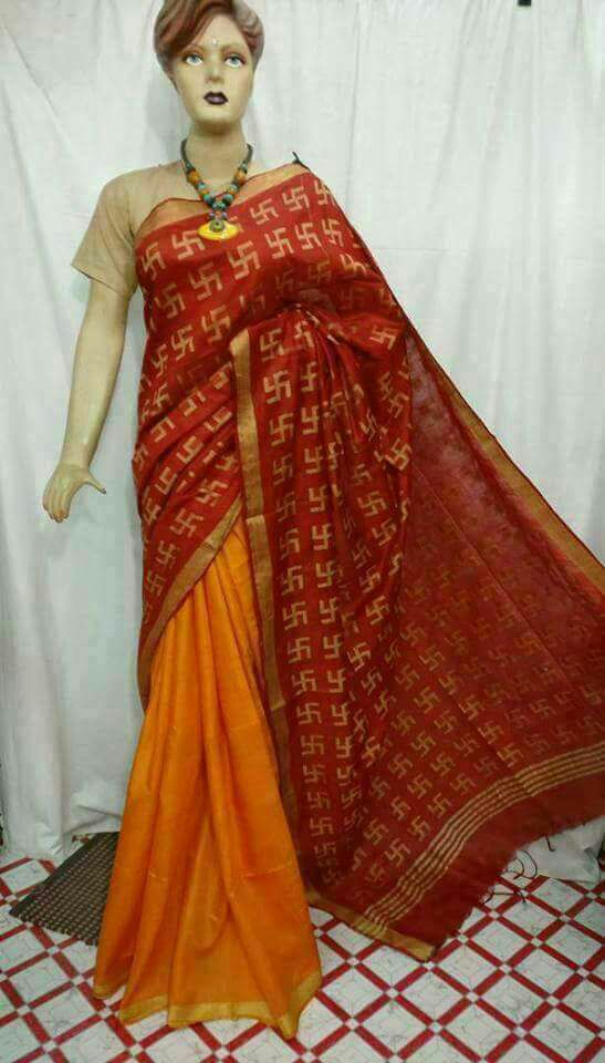 Red Orange Bhagalpuri Silk Sarees