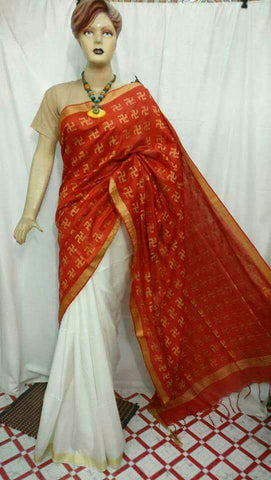 Red White Bhagalpuri Silk Sarees