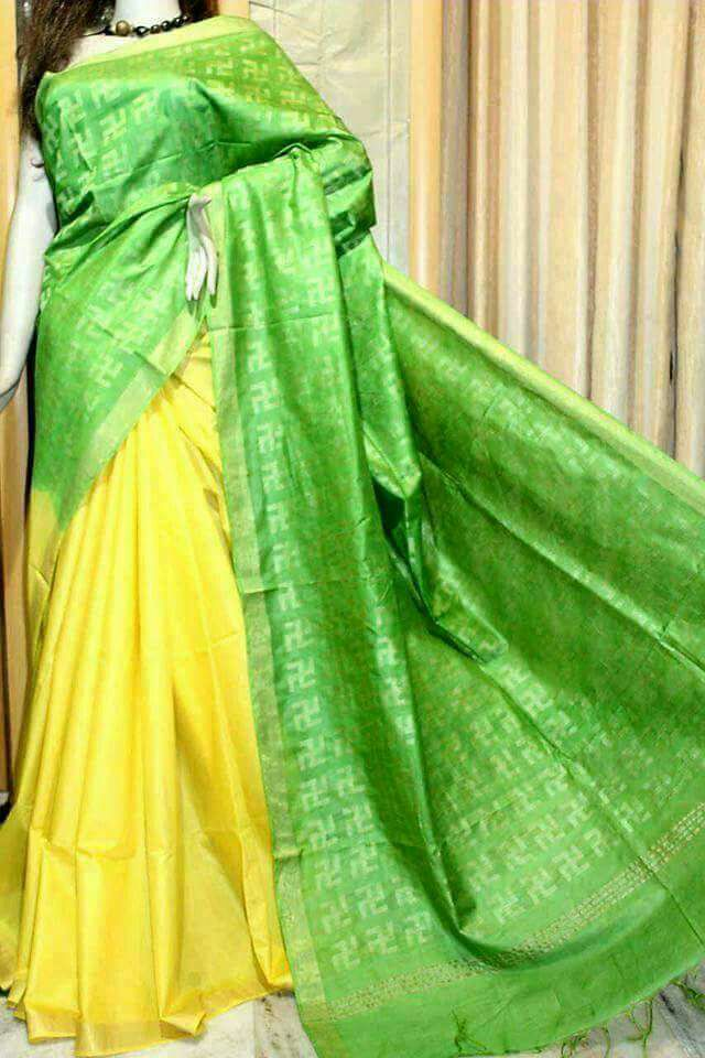 Green Yellow Bhagalpuri Silk Sarees