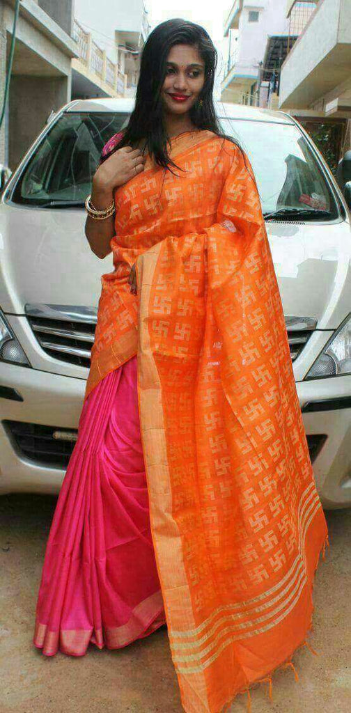 Orange Pink Bhagalpuri Silk Sarees