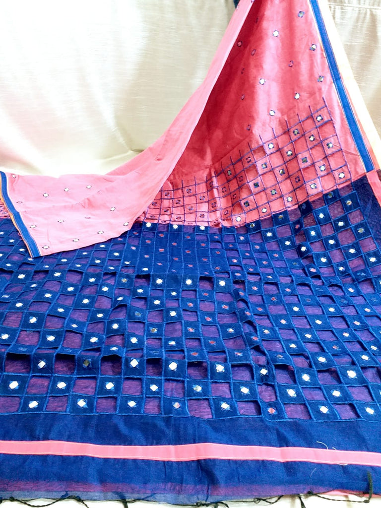 Pink Blue K.K Handloom Cotton Silk Sarees