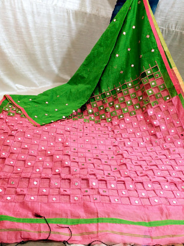 Green Pink K.K Handloom Cotton Silk Sarees